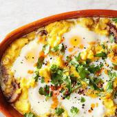 Sausage Polenta with Nestled Eggs