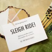 Holiday wood slice invite