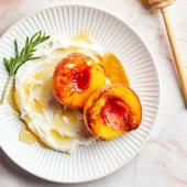 Rosemary-Balsamic Peaches with Honey and Whipped Ricotta
