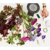 Materials for a flower garden bouquet