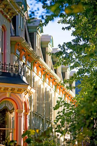 Ornate homes give Lafayette Square European flair.
