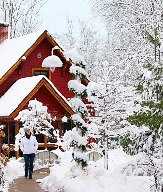 Snow-covered cottages make for a postcard-pretty scene at Crystal Mountain.