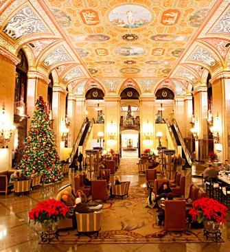 The breathtaking lobby at Chicago's Palmer House Hilton signals that Thanksgiving dinner will be one to remember.