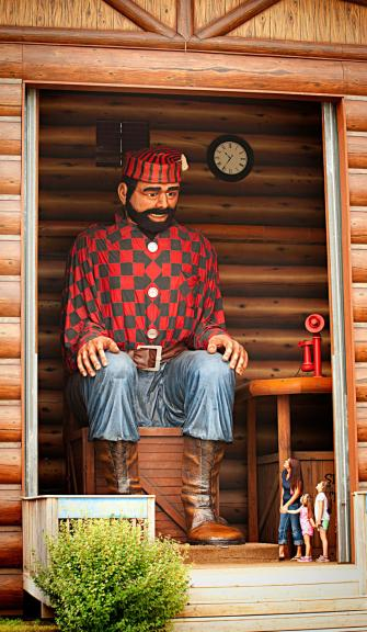A 26-foot-tall statue of Paul Bunyan greets youngsters by name at kitschy amusement park Paul Bunyan Land 8 miles east of Brainerd.