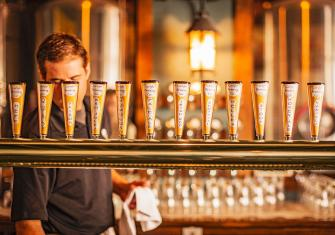 The 12 on-tap beers at Carlyle Brewing Company change with the seasons.
