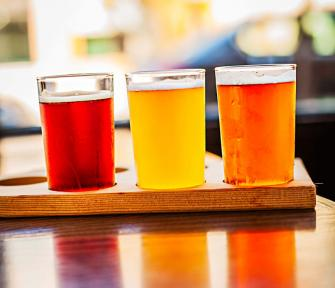 Can't decide on a beer at Carlyle Brewing Company? Try a six-beer sampler. (Ours included vanilla cream ale, caramel-chocolaty stout and dark Weizenbock).