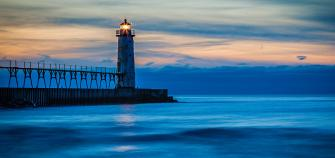 The Manistee North Pierhead Lighthouse has a companion beacon on the south pier.
