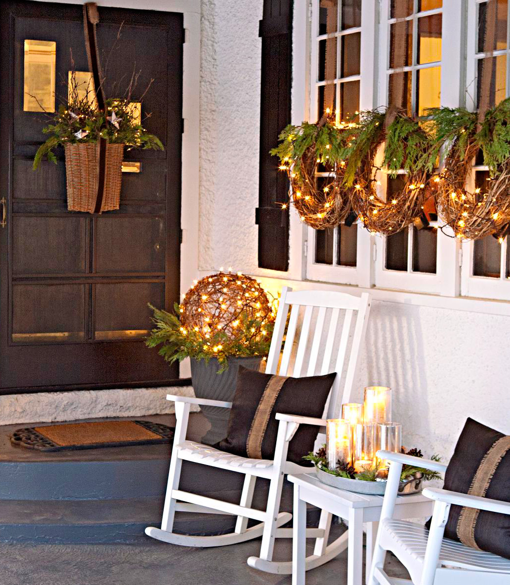 Easy Front Porch Holiday Decorations | Midwest Living on Patio Decorating Ideas With Lights id=60476