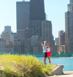 Chicago's long stretches of sandy shoreline beckon swimmers, sunbathers and photo-takers.