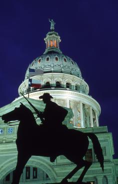 Capitol at night. Photo Courtesy of Austin Convention and Visitors Bureau/Frederica Georgia.