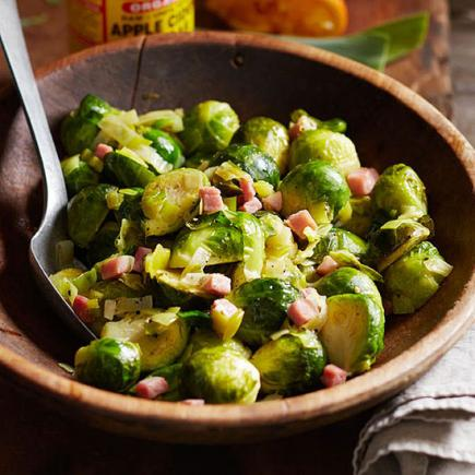 Brussels Sprouts With Ham And Leeks